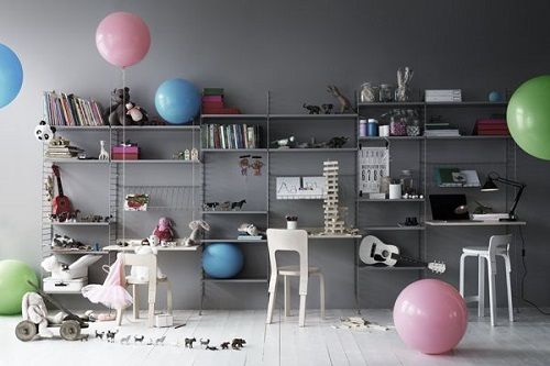 string® system - floor panels, shelves and magazine shelves in grey. work desks in birch