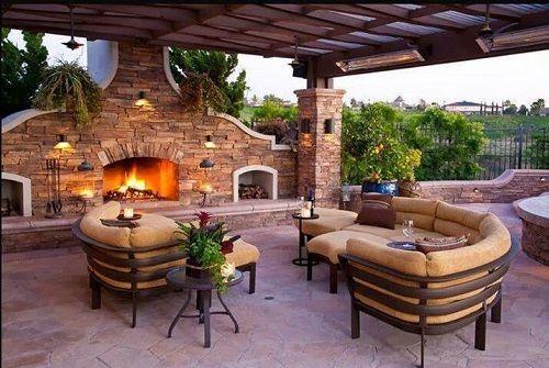terraza con chimenea de obra