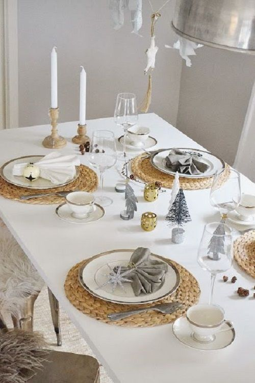 mesa de navidad tonos grises