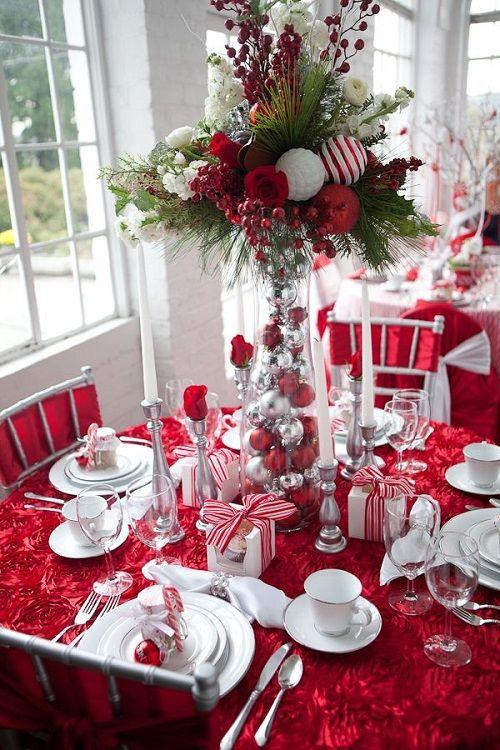 mesa navidad red&white