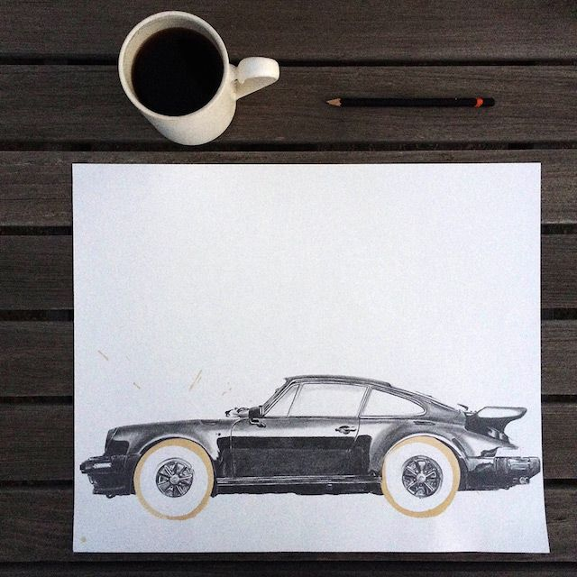 coche dibujado con cafe