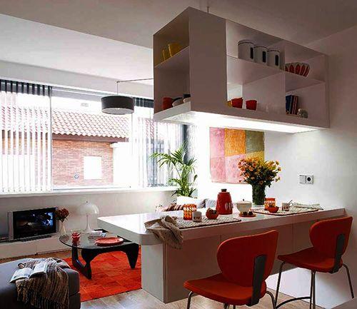 ideas decoracion pisos pequeños aprovechar el espacio separar habitaciones barras