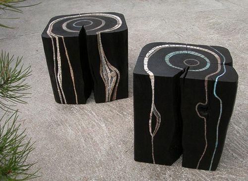 suzanne rippe artista francesa muebles mosaico madera quemada