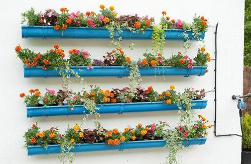 cañerias canalones tubos jardin colgante ideas decoracion diy