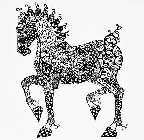 caballo zentangle dibujo patrones meditacion