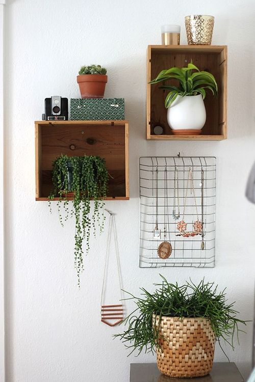 cajas madera macetas plantas verdes ideas decoracion tendencias