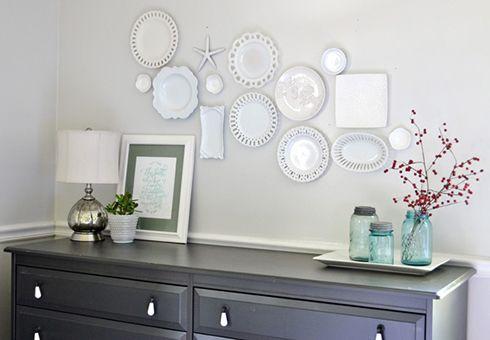 platos ceramica blanca decoracion paredes