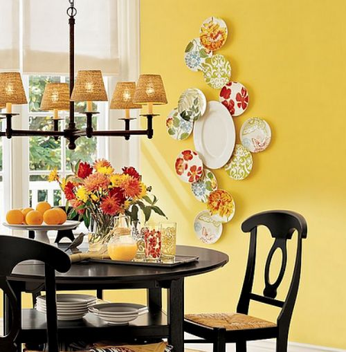 platos pared colores ideas decoracion comedor