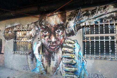street art graffiti exterior centro arte madrid atocha la neomudejar
