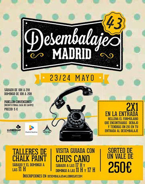 cartel promocional edicion 43 feria desembalaje madrid muebles decoracion retro primavera 2015