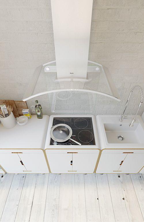 cocina apartamento industrial pequeño decoracion interiorismo anton medvedev