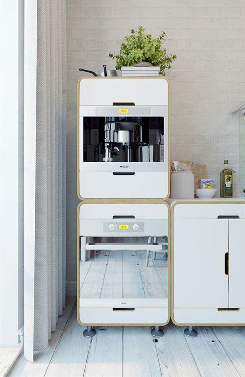 cocina apartamento pequeño industrial interiorismo