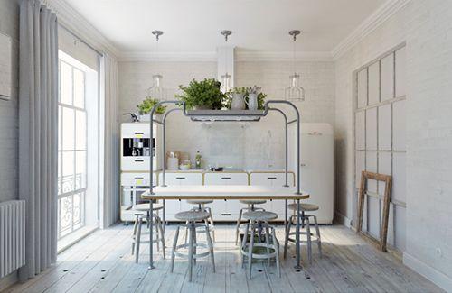 cocina apartamento pequeño praga interiorismo estilo industrial