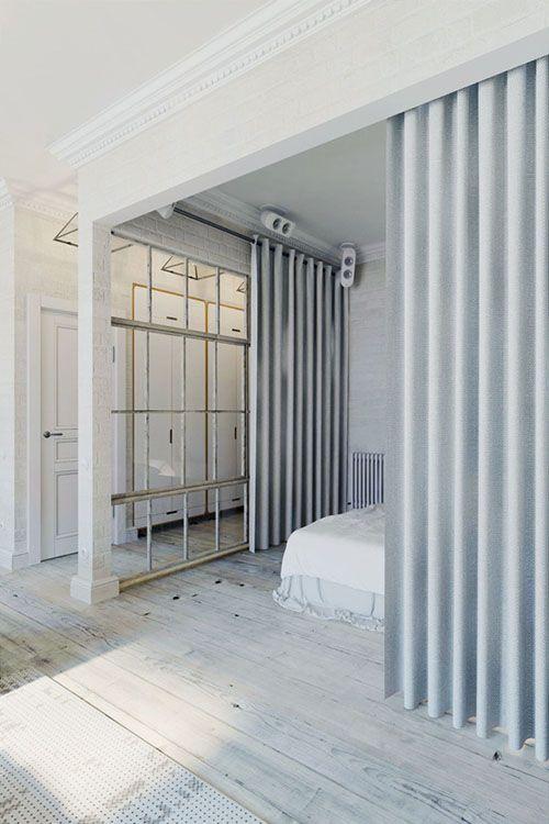 dormitorio cortinas apartamento pequeño praga decoracion interiorismo estilo industrial
