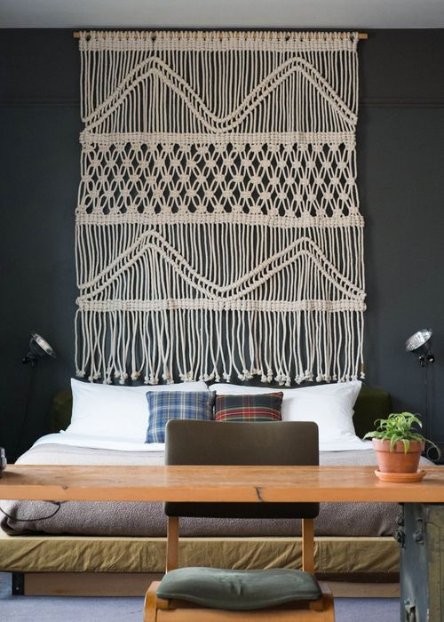 macrame cabecero pared tendencia bohemia decoracion