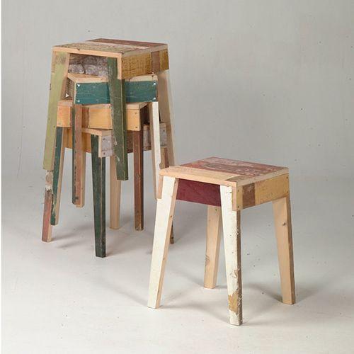 taburetes madera reciclada diseño sostenible eco piet hein eek