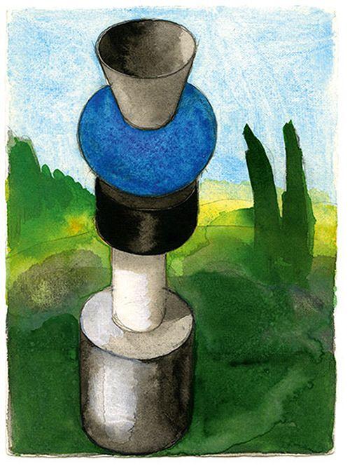estudio para ceramica diseño dibujo ettore sottsass
