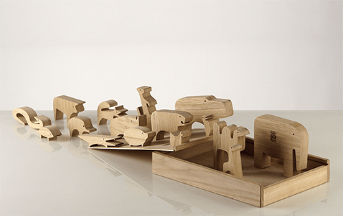 juego diseño 16 animali madera enzo mari
