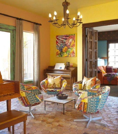 sala con decoracion mexicana