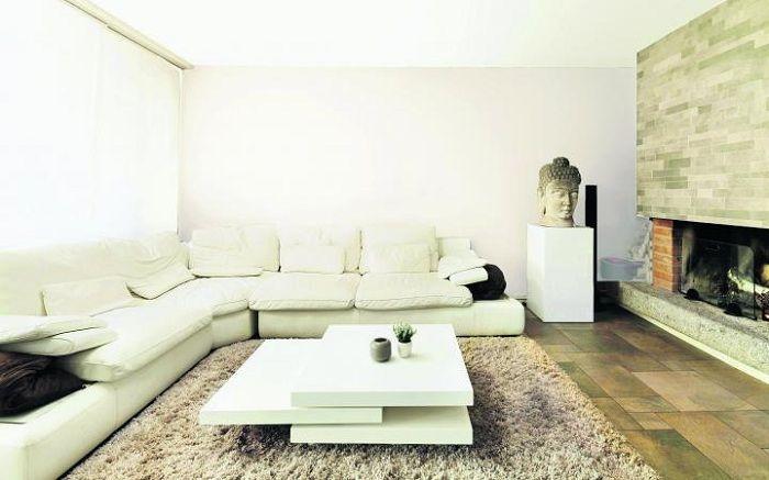 alfombra salón blanco