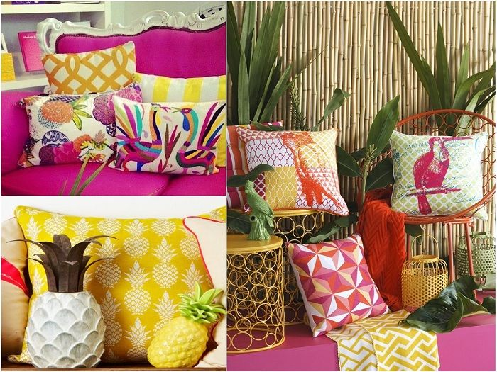 collage cojines tropicales