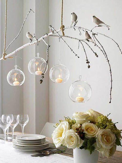 Rama blanca con bolas cristal