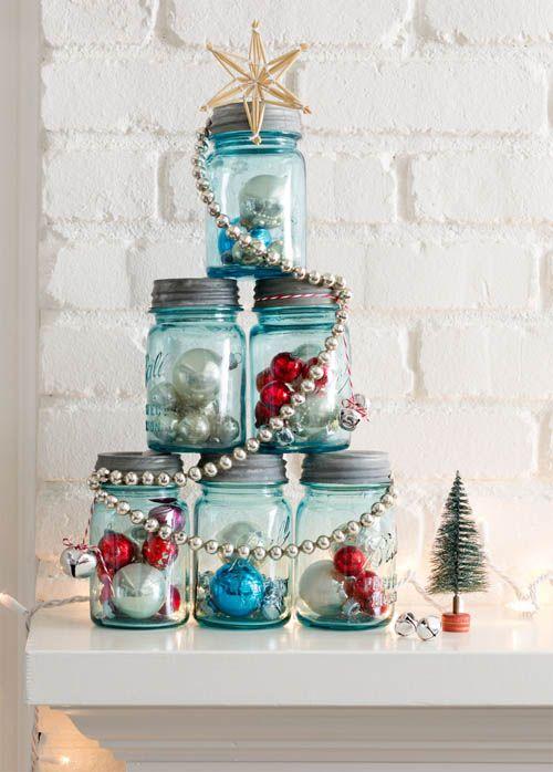 arbol navidad tarros cristal