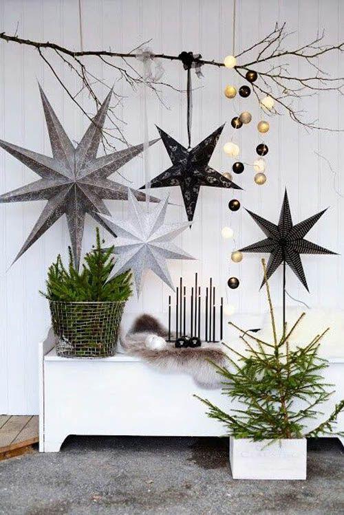 decoracion nordica navidad estrellas metalicas