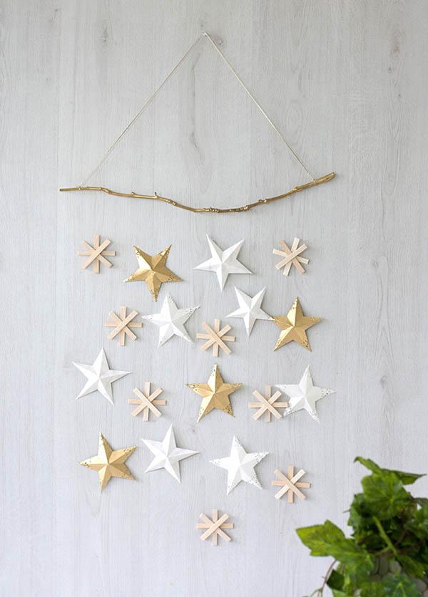 ideas decoracion nordica estrellas madera y oro