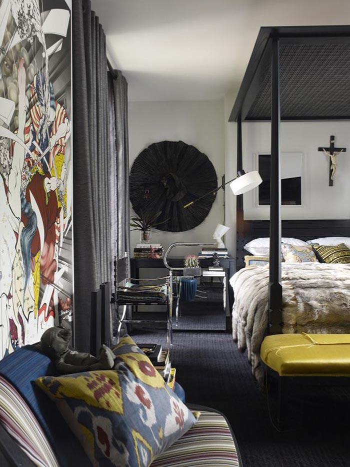 dormitorio maximalista con estampados