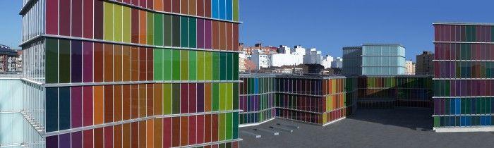 MUSAC Leon Exterior Tuñon Mansilla cristales colores mosaico