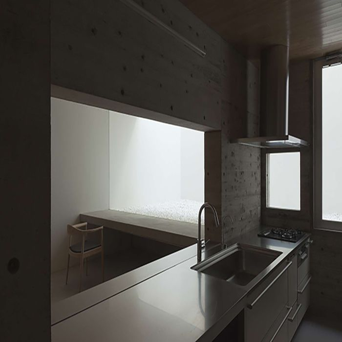casa bloque blanco cocina