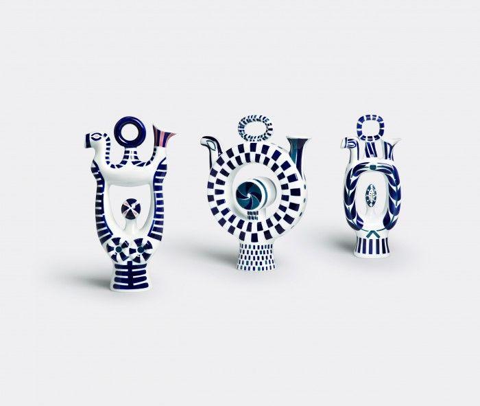tres floreros azul y negro sargadelos pieza ceramica gallega española galicia diseño