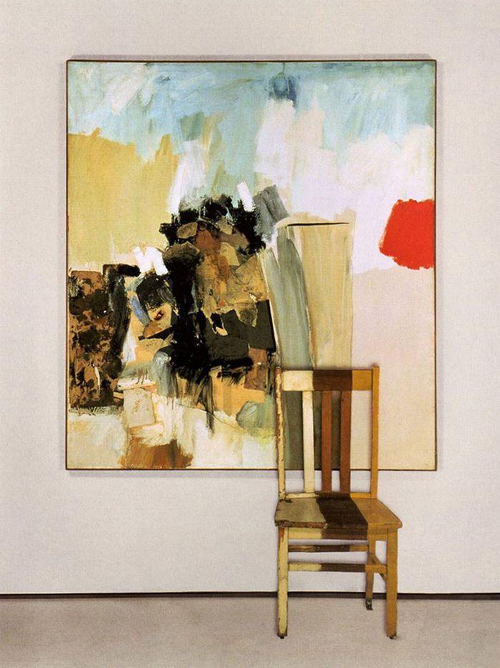 robert rauschemberg neo dada obra pintura abstracta con silla pintada