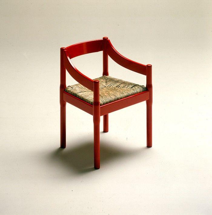 silla roja vico magistretti madera mimbre