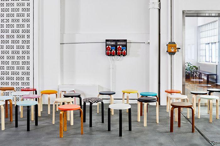 taburete 60 stool e60 albar aalto artek colores muchos tres patas madera curvada
