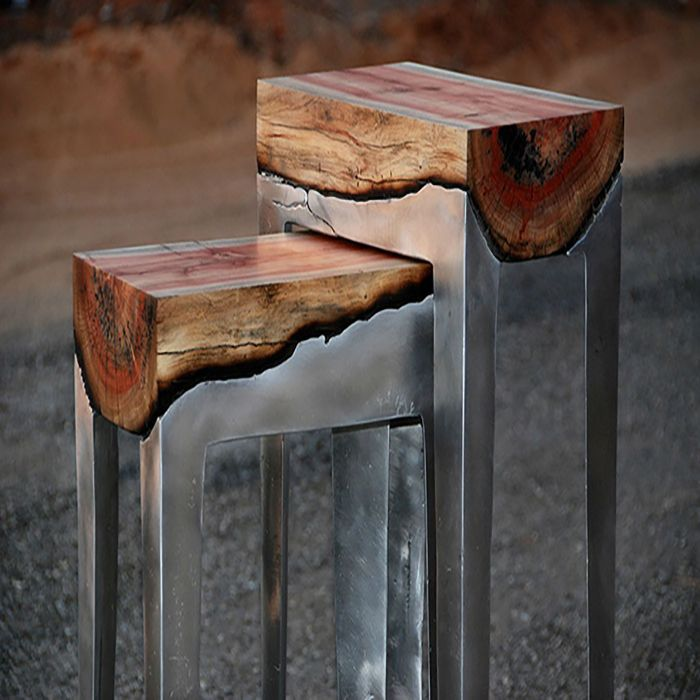 wood and alumnio table
