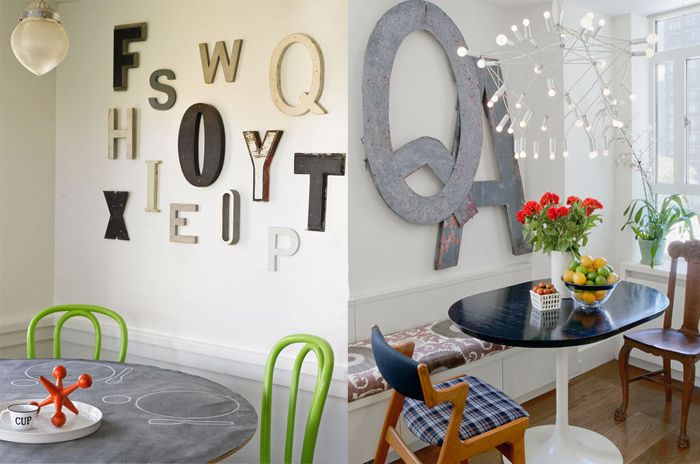letras de metal y madera ideas para decorar paredes blancas