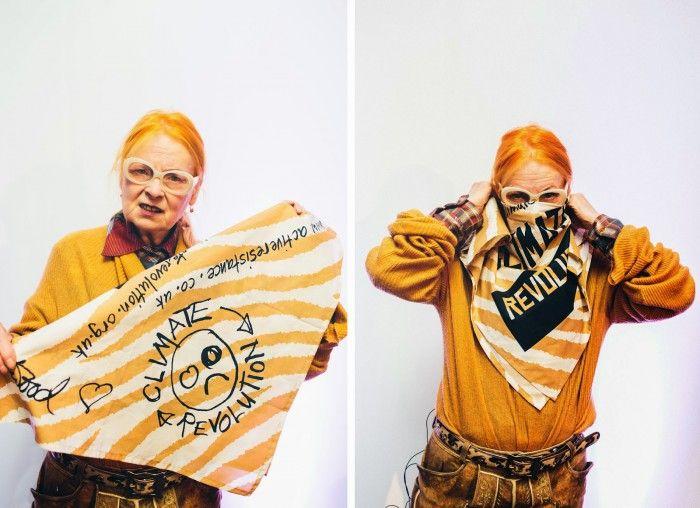 vivienne weswood pelo naranja revolucionaria protesta cambio climatico punk moda