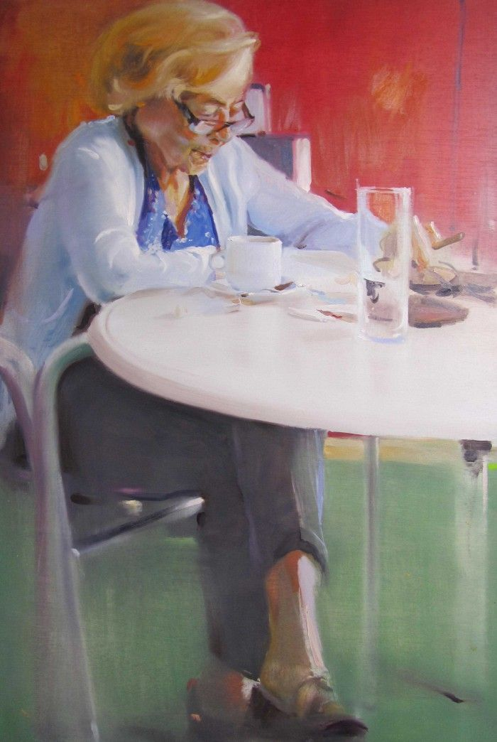 obra desayuno con puro pintor segoviano Alberto David Fernandez Hurtado cuadro mujer fumando puro