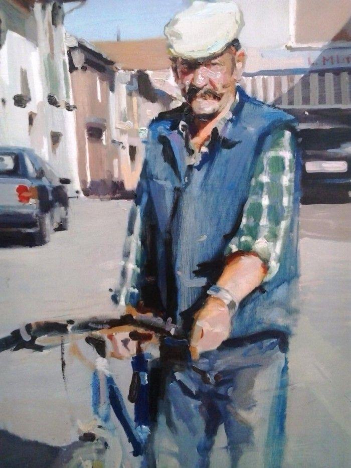 obra paisajes urbanos pintor segoviano Alberto David Fernandez Hurtado anciano con bicicleta