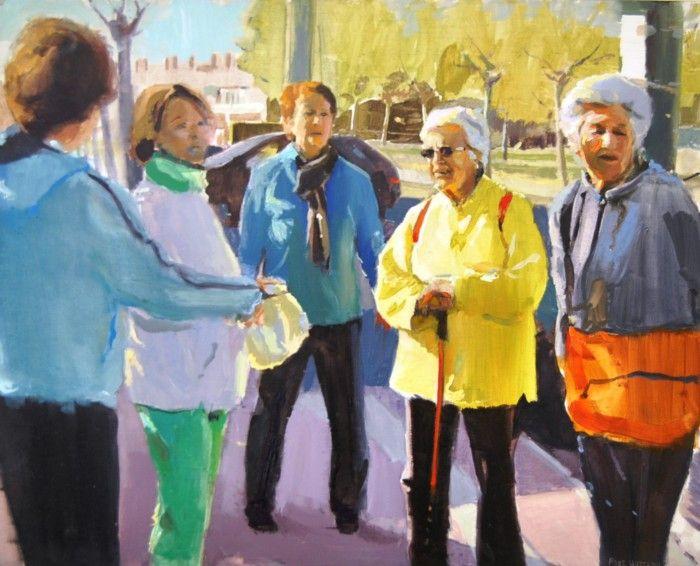 obra paisajes urbanos pintor segoviano Alberto David Fernandez Hurtado reunion senoras mayores