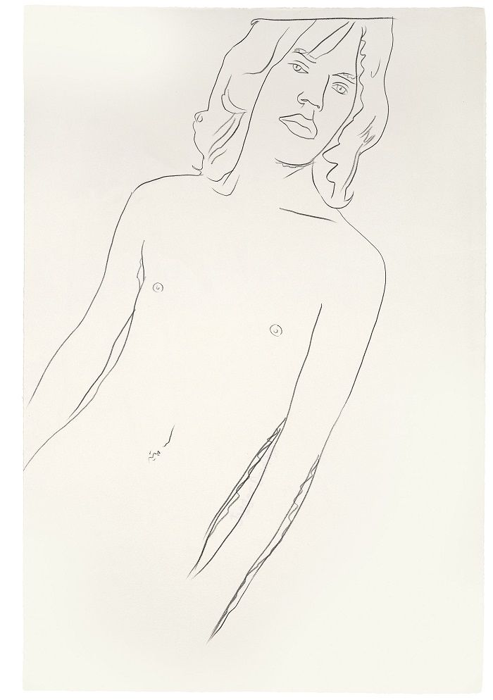 dibujo a mano mick jagger desnudo andy warhol 1975 lapiz pop art retrato