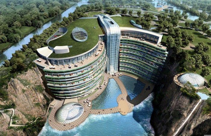 edificios soprendentes hotel subterraneo china songjiang acantilado rascasuelos hueco mina futuro arquitectura increible edificio