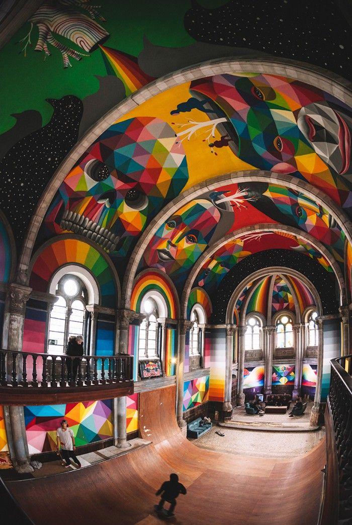 kaos temple okuda san miguel-la-iglesia-skate llanera asturias street art mural patin