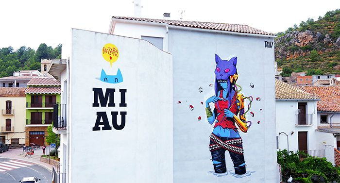miau fanzara gato festival street art arte urbano rural callejero pueblo castellon graffiti