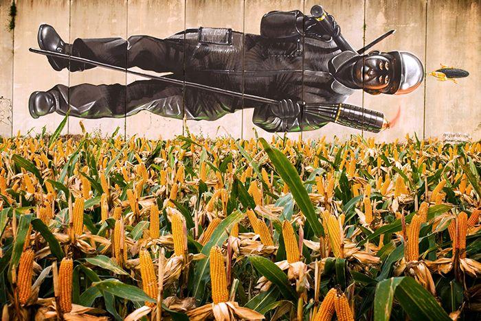 mural spok desordes creativas 2015 minero asturiano padre gallego maiz street art galicia arte urbano