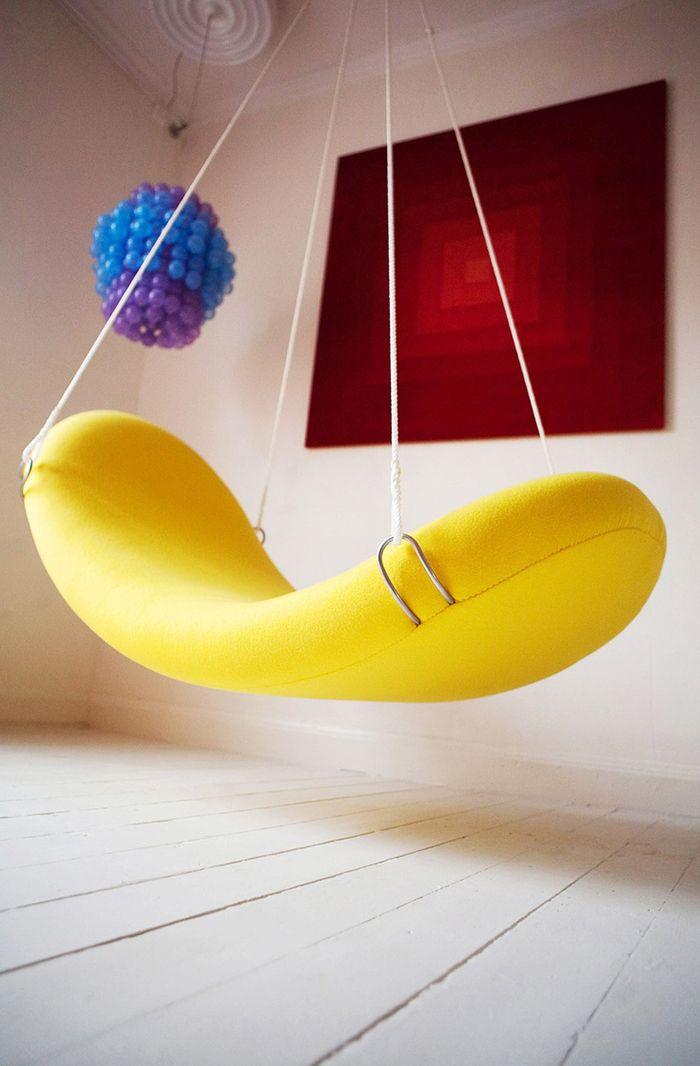 sofa colgante asiento verner panton amarillo platano curvo anos 60 70 retro