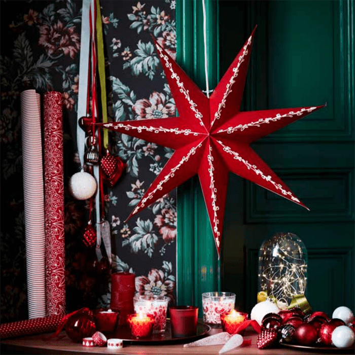 estrella papel rojo navidad IKEA 2016 2017
