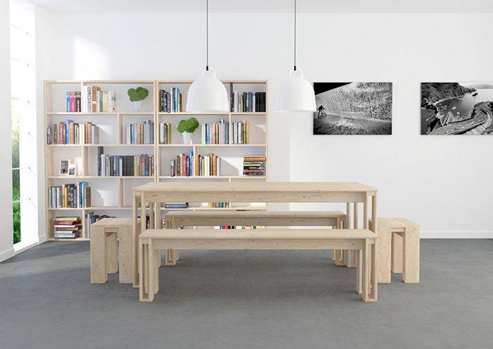 mesa bancos madera maciza lufe
